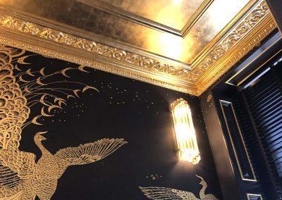 Gilded ceiling peacock detal